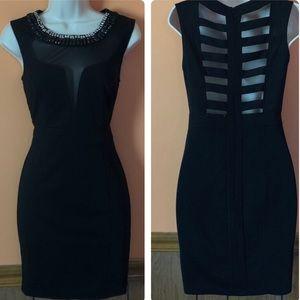 Embellished Neckline Cut Out Back Bodycon Dress